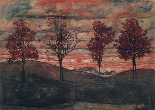 Schiele, Egon: Four Trees. Fine Art Print/Poster. Sizes: A4/A3/A2/A1 (00145)
